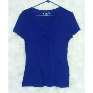 Cato Blue Cinched V-neck Blouse